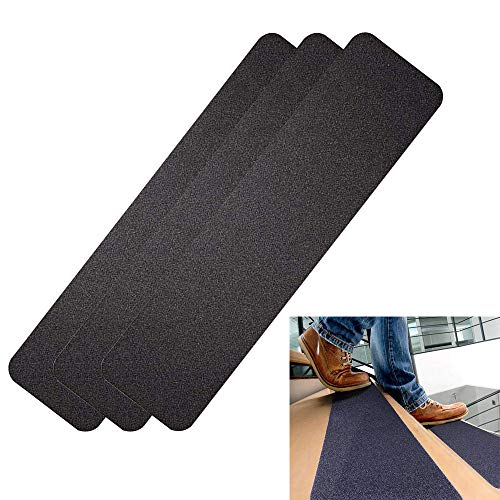 "Sunaction Outdoor Stair Treads Non-Slip Tape, (3 Pack) Pre-Cut 6""x 24""Black Non Skid Tape for Stairs,Steps,Boats,Garage,Wooden Ladder,Pool Ladder Mat"