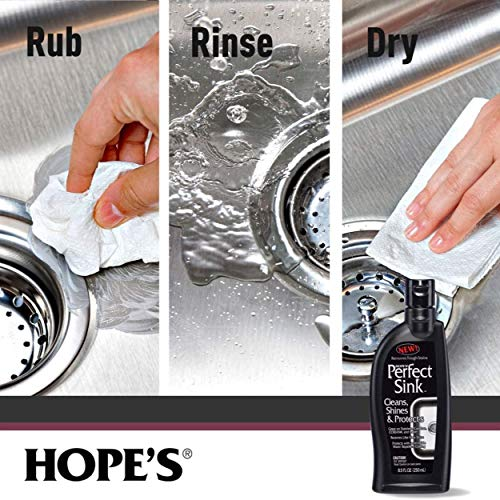 HOPE'S Perfect Sink Cleaner and Polish, Restorative, Water-Repellant, Removes Stains, Ideal for Brushed Stainless Steel, Cast Iron, Porcelain, Corian, Composite, Acrylic, 8.5 oz 3 Pack