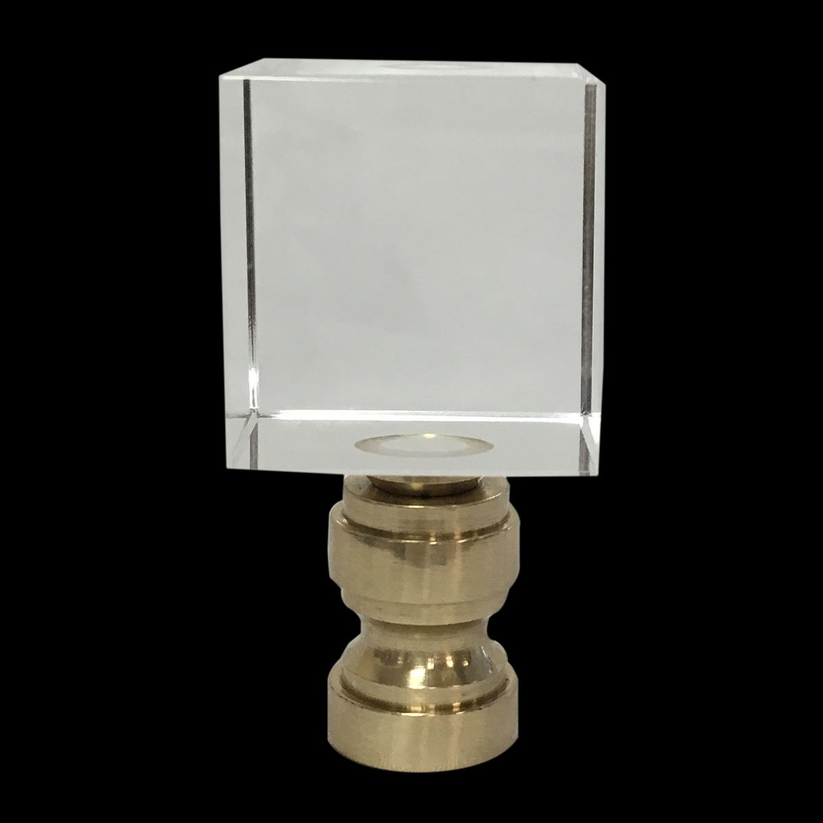 Royal Designs Clear Cube K9 Crystal Lamp Finial with Polished Brass Base - Set of 2 by Royal Designs, Inc (Image #2)