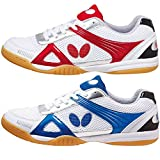 Butterfly Trynex Table Tennis Shoes – Stylish Shoes for Ping Pong – Sizes 4.5-10 – White/Blue or White/Red Shoes – Men or Women Sneakers