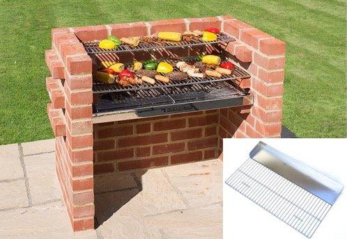 Brick BBQ-Kit 100% sehr schwere Edelstahl + Grillpfanne Grill + Warmhalterost 90x 39cm entspricht BS EN 1860: 2013–1Für Design Sicherheit & Qualität Black Knight bkb301g