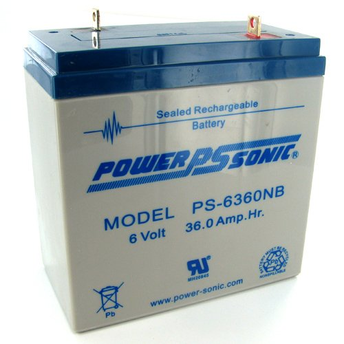 Powersonic PS-6360NB - 6 Volt/36 Amp Hour Sealed Lead Acid Battery with Nut-Bolt Terminal by Power Sonic