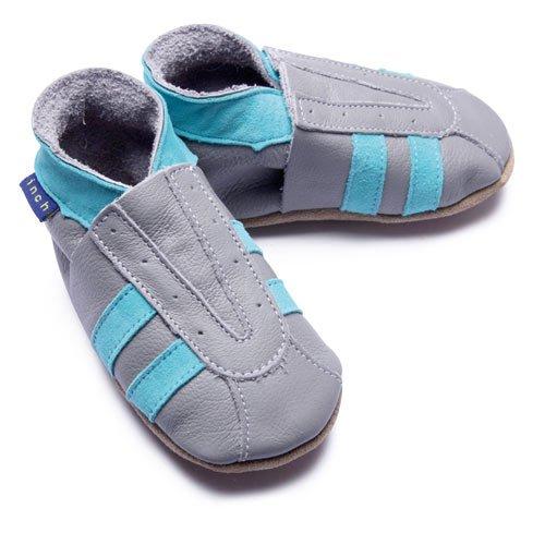 Inch Blue - 1588 L - Chaussures Bébé Souples - Sport - Gris / Turquoise - T 20-22 cm