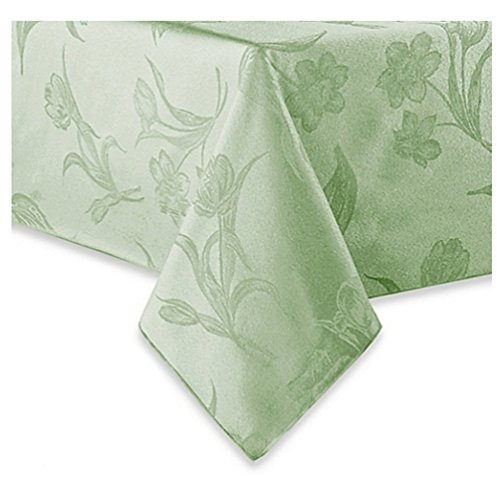 Spring Blossoms Pistachio Green Fabric Tablecloth (70 (Round Tablecloth Pattern)
