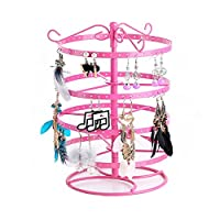 Glitterymall 4 Tier Metal Rotating 168 Holes Jewelry Earring Accessories Holder Organizer Display Stand Ring Rack Towers (Hot Pink Color)