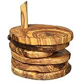 Naturally Med Olive Wood Rustic Coaster Set
