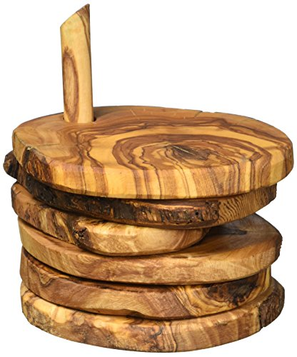 Naturally Med Olive Wood Rustic Coaster