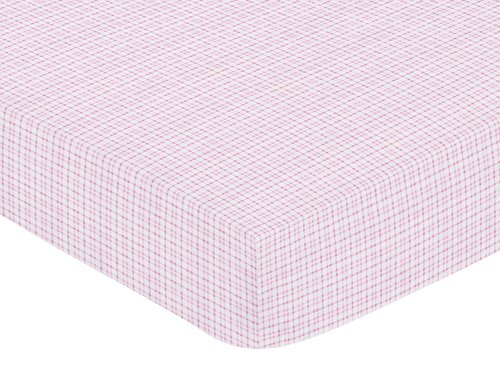 Pink Teddy Bear Design (Pink and Chocolate Teddy Bear Fitted Crib Sheet for Baby and Toddler Bedding Sets by Sweet Jojo Designs - Plaid Print)