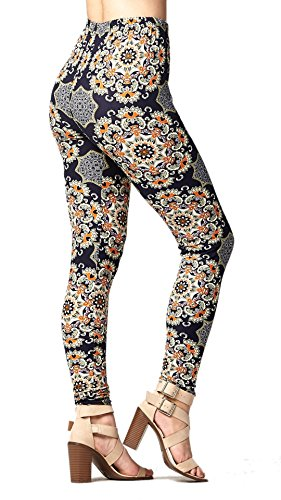 Conceited Super Soft High Waisted Printed Leggings for Women - Daisy Kaleidoscope - Small/Medium (0-12)