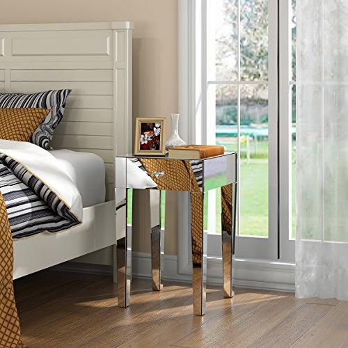 Bedroom Furniture Venetian Mirrored Glass Bedside Table