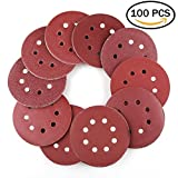 5 Inch 8-Hole Hook and Loop Sanding Discs by LotFancy - 100PCS 40/60/80/100/120/180/240/320/400/800 Grit Assorted Orbital Sander Round Sandpaper