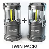 HeroBeam 2 x LED Lantern - Latest COB Technology emits 300 LUMENS! - Collapsible Tough Lamp with Magnetic Base - Great Light for Camping, Fishing, Shed, Festivals - (TWIN PACK)