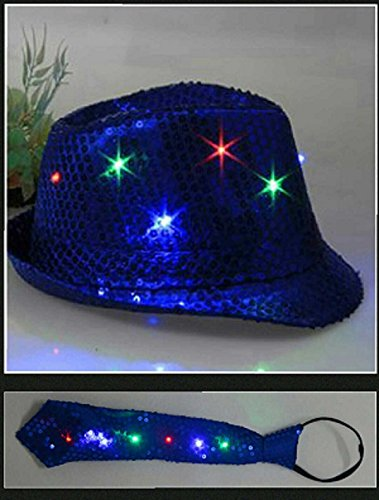 Blue LED Fashing Light Up Sequin Fedora Hat Tie Costume Combo (Jackson Extra Light)