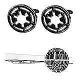 Outlander Imperial Cufflink & Death Star Tiebar - New 2018 Star Wars Movies - Set of 2 Wedding Logo w/Gift Box