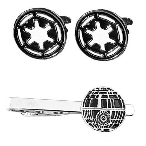 Outlander Imperial Cufflink & Death Star Tiebar - New 2018 Star Wars Movies - Set of 2 Wedding Logo w/Gift Box by Outlander