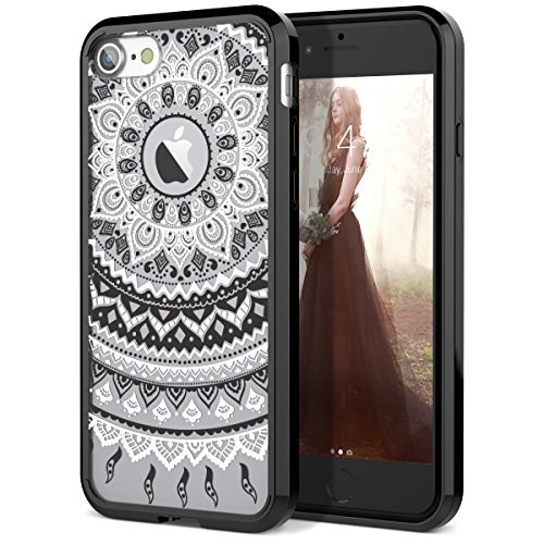 SmartLegend iPhone 8 Case/iPhone 7 Case, Girls Women Slim Anti-Slip Clear Soft TPU Bumper + Hard PC Back Shockproof Full-Body Protective Cover for iPhone 7/8- Black Mandala
