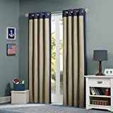 "Mi Zone Kids 63"" Liam Energy-Saving Grommet Top Window Curtain Panel In Blue/khaki"