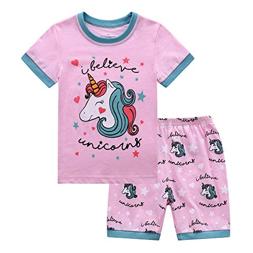 RKOIAN Little Girls' Short Pajamas Sets Toddler PJS Cotton Kids Sleepwears (Pink Unicorn, 2T)
