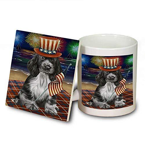 4th of July Independence Day Firework Cocker Spaniel Dog Mug and Coaster Set MUC52418 (Dishwasher Coasters Independence Safe)