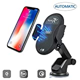 Wireless Car Charger, Automatic Wireless Car Mount Air Vent Holder Fast Qi Charging for Samsung Galaxy S9 Plus S8 S7 Edge Note 8 iPhone X 8 / 8 Plus & Other Qi Enabled Devices - Smart Sensing (Black)