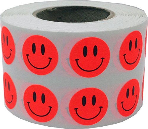 Fluorescent Red Smiley Face Circle Dot Stickers, 1/2 Inch Round, 1000 Labels on a Roll