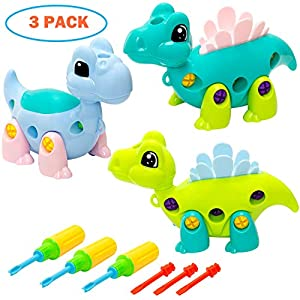 INNOCHEER Dinosaur Toys Take Apart Fun with Tools, STEM Learning, Construction Engineering Building Play Set for Boys, Girls Age 3 Years and Up