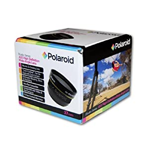 Polaroid Studio Series 37mm .43x High Definition Wide Angle Lens With Macro Attachment, Includes Lens Pouch and Cap Covers