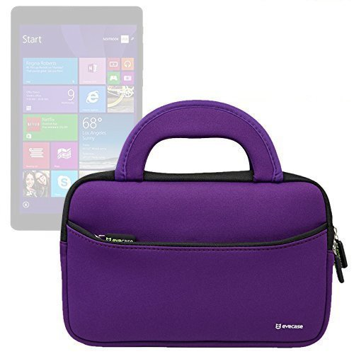 Evecase E-Fun 8 Inch Nextbook Ares 8 NXA8QC116 / Flexx 8 NXW8QC132 Tablet Sleeve Case, Slim Neoprene Briefcase w/ Handle & Accessory Pocket / Ultra Portable Carrying Portfolio Pouch Cover - Purple