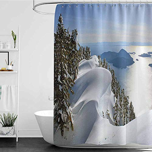 Tim1Beve Travel Shower Curtain,Winter Pacific Ocean Meets The Mountains Vancouver British Columbia Canada Wilderness Scenery,Metal Build,W72x96L ()