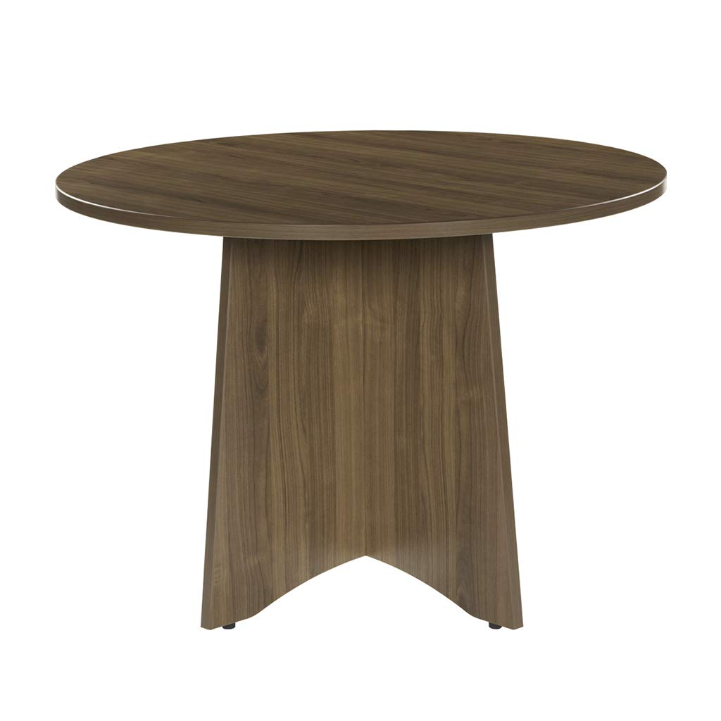 Sunon 41.3'' Dia Round Conference Table with X-Shaped Wood Panel Small Dining Table (Walnut)