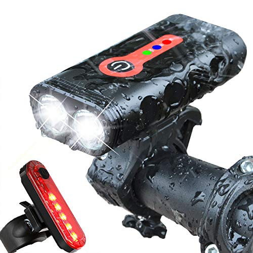 BurningSun Bike Light Set 5 Mode 1000 Lumens Super Bright 360 Degree Rotatable IP65 Waterproof USB Rechargeable Bicycle Headlight Front and Taillight Rear Back Light Cycling Riding Lamp LED Flashlight