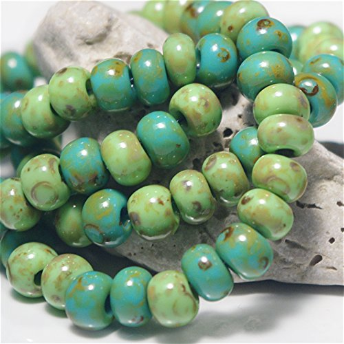 20 g Picasso Travertine 3/0 Czech Glass Seed Beads Green Shades Mix