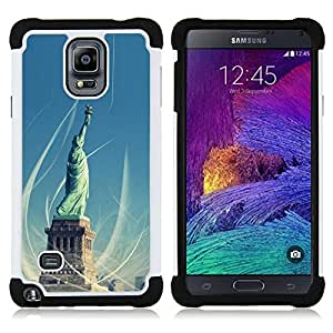 GIFT CHOICE / Defensor Cubierta de protección completa Flexible TPU Silicona + Duro PC Estuche protector Cáscara Funda Caso / Combo Case for Samsung Galaxy Note 4 SM-N910 // Architecture Statue Of Liberty //