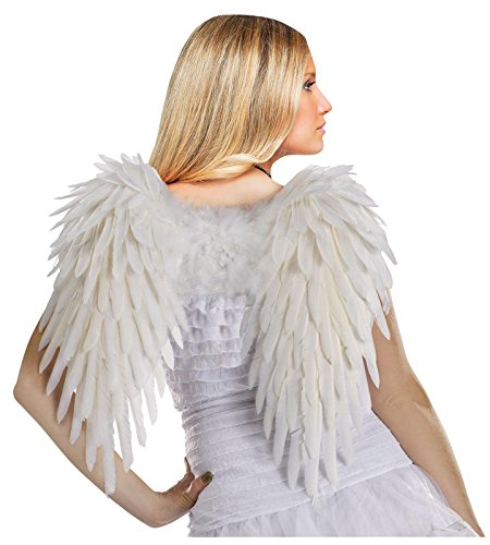 [Fun World Costumes Women's Deluxe Feather Angel Wings, White, One Size] (Angel Wings For Halloween Costumes)