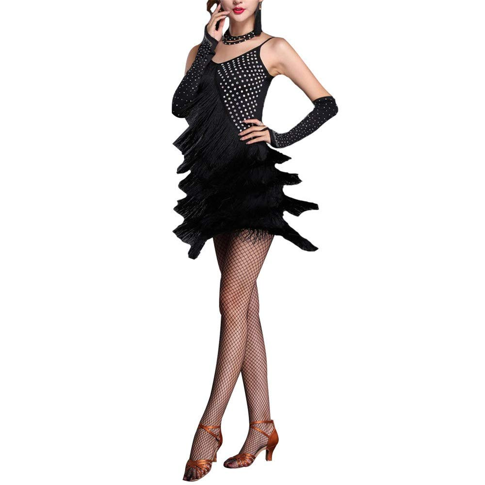 Noir Yhjklm Femmes sans Manches Gland Robe De Danse Latine Outfit Strass Frange Flapper Robe Sway Danse Robe De Cocktail Lady Salle De Bal Perforhommece Costume De Danse pour Femme Small