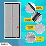 """DOOREASY Fiberglass Mesh Curtain, Hands-free Magnetic Screen Door, Full Frame Velcro Sewn, Easy Install Anti Mosquitoes Door Curtain, Fits French Doors And Some Sliding Glass Doors(48""""x80"""", Black)"""