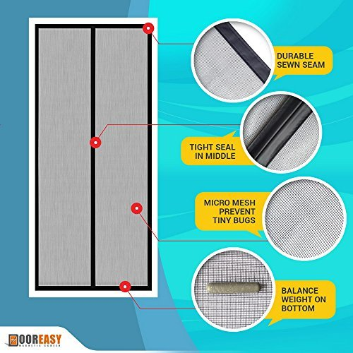 Dooreasy fiberglass mesh curtain hands free magnetic for French door magnetic screen