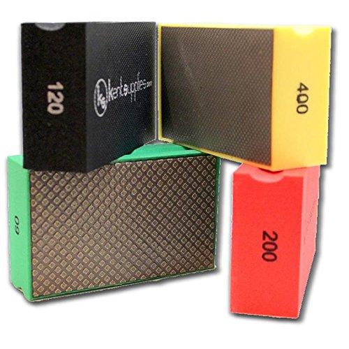 KENT 4 Assorted COARSE Grits Premium Diamond Hand Polishing Pads by Kent Supplies