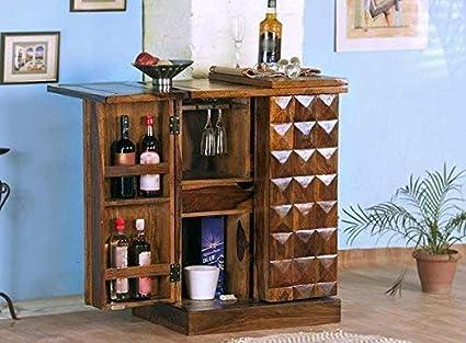Furniture World Pre-Assemble sheesham Wood Stylish Bar Cabinet/Wine Rack/Bear bar with Wine glaas Storage- Living Room Furniture (Natural Teak Finish)