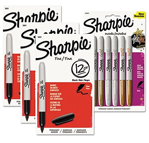Sharpie Assorted Fine Point Markers Black Metallic 42 Count by Sharpie