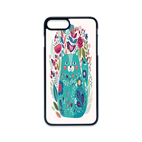 Phone Case Compatible with iPhone7 Plus iPhone8 Plus 2D Print Black Edge,Cat,Cute Kitty Surrounded by Birds Flowers Ladybugs Inspirational Folk Baby Theme,Seafoam Multicolor,Hard Plastic Phone Case