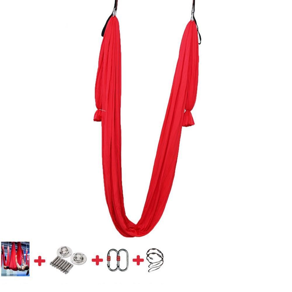 反重力アンテナヨガハンモック低高度を投げつけ環境にやさしいストレッチベルトマイクロアクセサリと弾性、絹紡糸、 500 × 280 cm B07CBNXP25 赤 赤