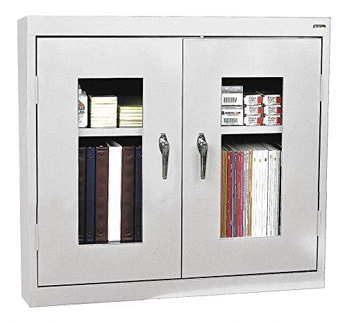 (Sandusky Lee Welded Steel Wall Cabinet - Clear View, 36in.W x 12in.D x 30in.H, Light Gray, Model# WA2V361230-05)