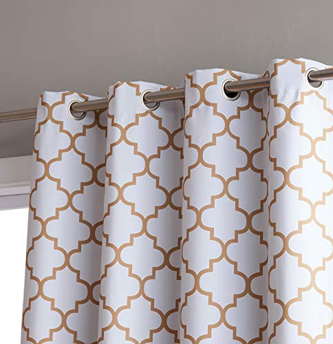 HLC.ME Lattice Print Thermal Insulated Blackout Room Darkening Grommet Top Window Curtain Panels for Bedroom - Platinum White/Gold - 52