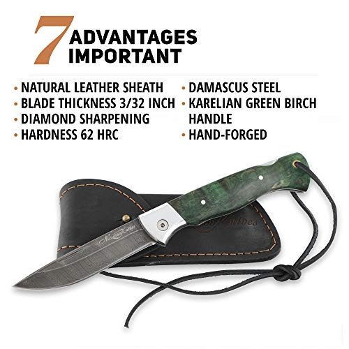 Folding Knife Special Edition – Pocket Knife Wolf – Real Damascus Steel – Karelian Birch Handle – Durable Leather Sheath by Nazarov Knives (Image #3)