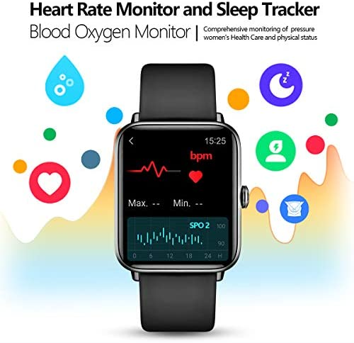"""Smart Watch, Dirrelo Fitness Tracker Heart Rate Monitor, Blood Oxygen/Sleep Monitor with 1.55"""" Touch Screen, Step Counter, IP68 Waterproof Pedometer Calorie Counter Watch Men Women, Android iPhones 4"""