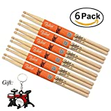 Durable Drum Sticks 5A Wood Tip Drumstick 6 Pairs (oak 6 Pairs)