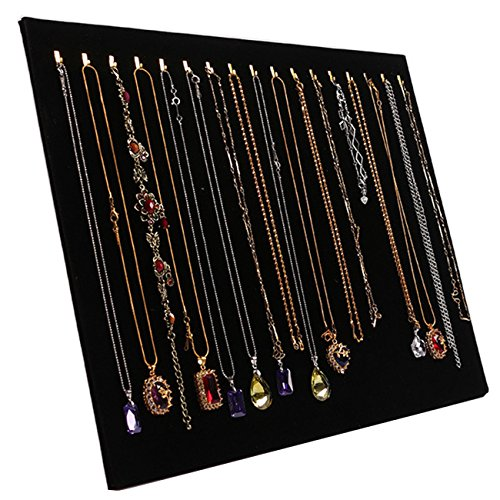 TinaWood 14.7'x12' 17 Hook Necklace Jewelry Tray/Display Organizer/Pad/Showcase/Display case