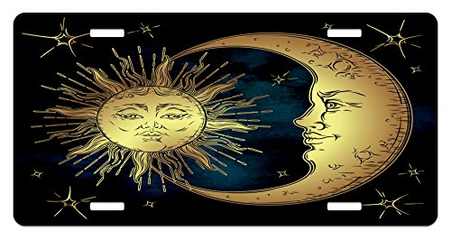Psychedelic Validate Plate by Ambesonne, Sacred Moon and Sun in Antique Style Lunar Myth Astrology Zen Art Print, High Gloss Aluminum Ornament Plate, 5.88 L X 11.88 W Inches, Petrol Blue Yellow
