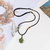 SHERLOVE Green Moldavite Crystal Necklace Irregular